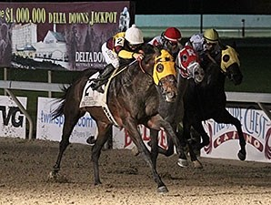 Stormdriver wins the LA Bred Premiere Night Championship Stakes.
