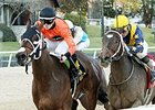 Marquee Miss (left) defeated Nickname to win the Martha Washington Stakes on Feb. 6.