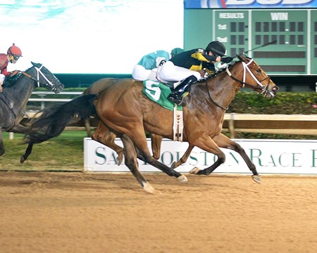 Thievery steals the victory from the rest of the field in the Two Altazano Stakes at Sam Houston Race Park in Houston, Texas.