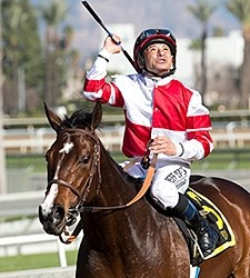 Songbird wins the 2016 Las Virgenes Stakes.