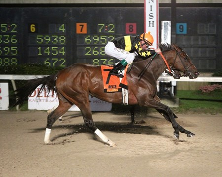 Lunar Haze comes home strong to win the Gulf Coast Stakes at Delta Downs in Vinton, Louisiana.