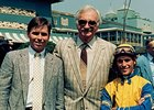 Jeff Lukas, Eugene Klein, and Gary Stevens before Winning Colors' Santa Anita Derby win. Winning Colors would go on to win the Kentucky Derby.