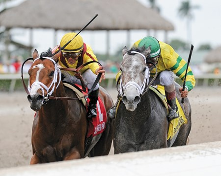 Blofeld (inside) had his head in front at the wire for the win in the Gulfstream Park Handicap (gr. II).