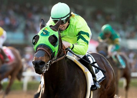 Tarabilla Farms' Melatonin provided a 16-1 shocker in the $1 million Santa Anita Handicap (gr. I), taking the field of nine gate-to-wire to score by 4 1/4 lengths, and withstood an inquiry after the race to make his first stakes win a grade I.
