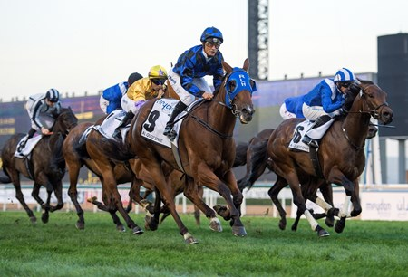 Australian sprint star Buffering thundered to victory in the $1 million Al Quoz Sprint (UAE-I) at Meydan Racecourse.