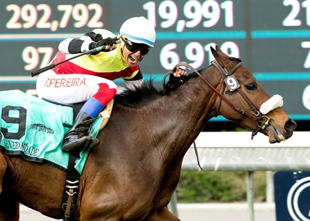 Never better than sixth in three starts since relocating to the United States, Generosidade put on a show at Santa Anita Park in the $200,000 San Luis Rey Stakes (gr. IIT).