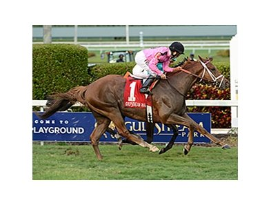 "Kaigun outfinishes Wake Forest to win the Pan American Stakes.<br><a target=""blank"" href=""http://photos.bloodhorse.com/AtTheRaces-1/At-the-Races-2016/i-tQsXkPZ"">Order This Photo</a>"