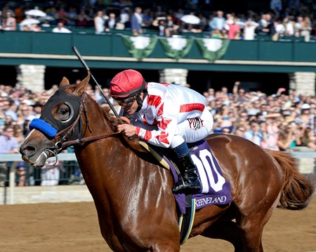 Speedway Stables' Collected tracked longshot One More Round through most of the 1 1/16-mile race for 3-year-olds before he pounced at the eighth pole and surged to a four-length victory in the Lexington Stakes (gr. III) at Keeneland.