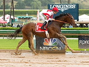 Songbird wins the 2016 Santa Anita Oaks.