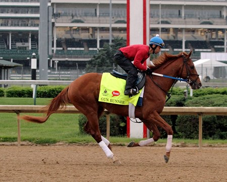 Gun Runner on the track at Churchill Downs on April 30, 2016.