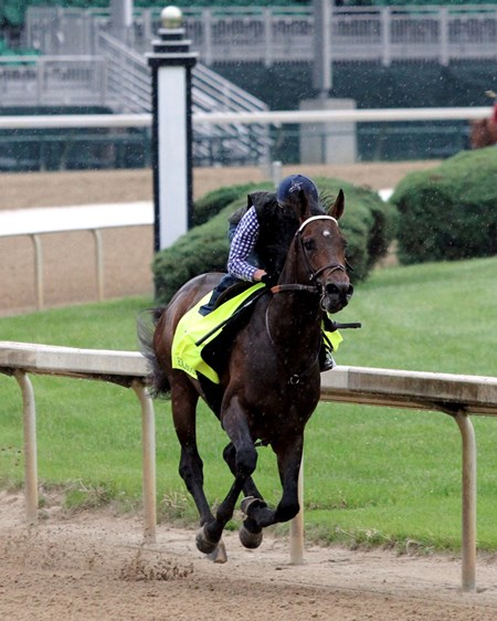 Exaggerator with Kent Desormeaux worked five furlongs in  1:02.60 at Churchill Downs on April 30, 2016.