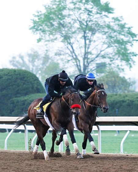 Nyquist (OUTSIDE) and Ralis (INSIDE) work at Keeneland April 23, 2016