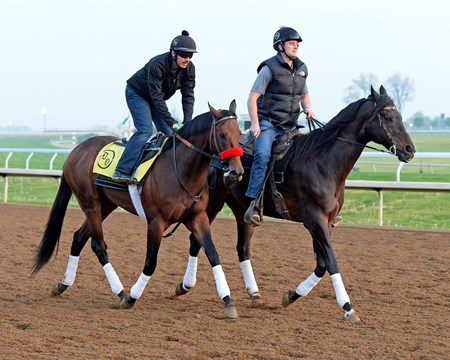 Nyquist worked in company with Ralis going 5 furlongs in 1:01.80. Nyquist in red shadow roll with Jonny Garcia. Jack Sisterson on pony Satire