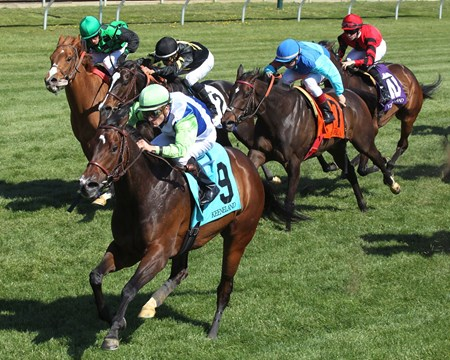 EXAGGERATED The Giant's Causeway - Listed - 20th Runinng Keeneland Race Course     Lexington, Kentucky April 16, 2016    Race #08 Purse $100,000 5-1/2 Furlongs-Turf  1:02.81 Lael Stables, Owner Arnaud Delacour, Trainer Julien Leparoux, Jockey Cactus Kris (2nd) Miss Double d'Oro(S) (3rd) $22.00 $9.80 $6.80 Order of Finish - 9, 11, 2, 12 Please Give Photo Credit To:  / Coady Photography