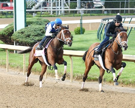 Rachel's Valentina works at Churchill Downs April 28, 2016