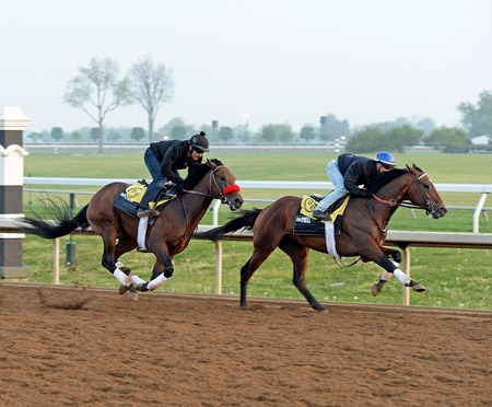 Nyquist worked in company with Ralis going 5 furlongs in 1:01.80. Nyquist in red shadow roll with Jonny Garcia.  Morning works and scenes at Keeneland in Lexington, Ky., on April 22, 2016.