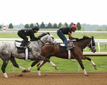 Thrilled (INSIDE) - Money Changer (OUTSIDE) - Morning Workout - Keeneland - 042116