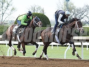 General a Rod (inside) and Never So Few (outside) - Keeneland, April 8, 2016.
