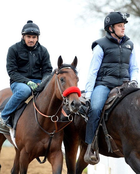 Coming off track with Jonny Garcia up and go pro camera on assistant trainer Jack Sisterson. Nyquist goes to track for first gallop over the surface.  Morning works and scenes at Keeneland in Lexington, Ky., on April 11, 2016.