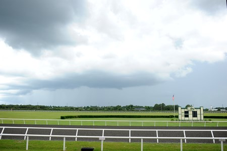 A storm arrives at the OBS Sales in Ocala, Florida on June 13, 2014.