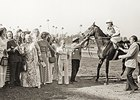 Keith Stucki (far right) in the Winner's Circle with Ancient Title after the 1975 Hollywood Gold Cup Invitational.