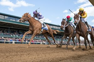 Ashbrook Farm's Weep No More spoiled the party in the $500,000 Central Bank Ashland Stakes (gr. I) at Keeneland, when she closed from last in the short field of five to upset grade I winner Rachel's Valentina and previously undefeated Cathryn Sophia.