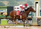 Songbird cruises in the slop in the Santa Anita Oaks.