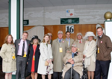 Phipps family in front of stall 16 for Orb in the 2013 Kentucky Derby paddock. Ogden Phipps, Daisy Phipps; Stuart Janney III; Dinny Phipps