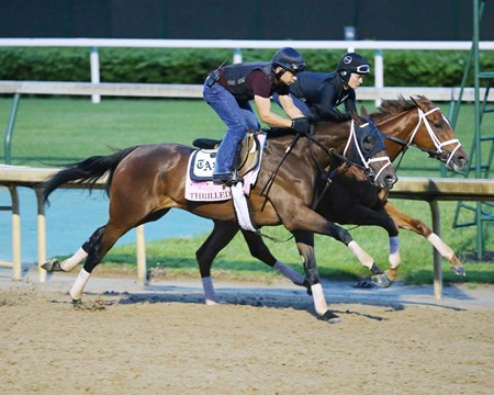 Thrilled and Curalina work in tandem at Churchill Downs April 28, 2016