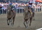 Lost Raven (right) wins the Miss Preakness