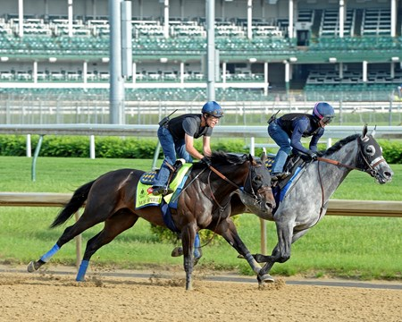 Mor Spirit with Gary Stevens working with workmate at Churchill Downs on May 2, 2016, in Louisville, Ky.
