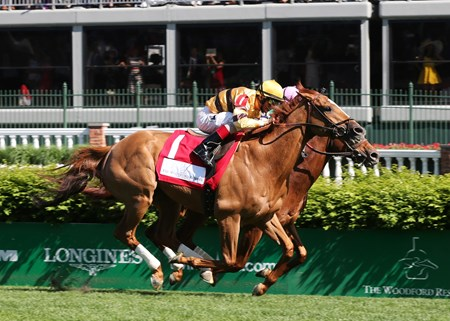 Wise Dan ridden by jockey John Velazquez, left out duels Seek Again with Joel Rosario to the wire in the Woodford Reserve Turf Classic Saturday afternoon May 3, 2014 at Churchill Downs in Louisville, Kentucky.