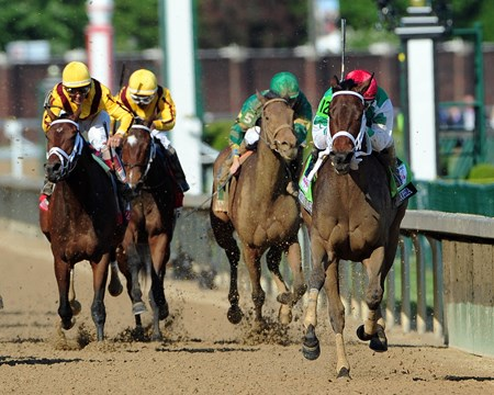(May 6, 2016) Cash Is Kings Stables Cathryn Sophia (red cap), Javier Castellano up, wins the 142nd Running of the Gr.1 Kentucky Oaks at Churchill Downs.