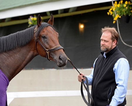 Trainer Doug O'Neill with Nyquist at Churchill Downs on May 3, 2016, in Louisville, Ky.