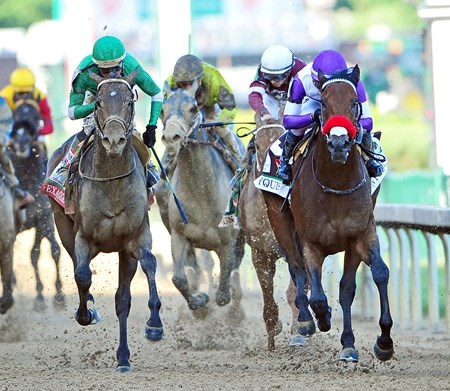 (May 7, 2016) Nyquist (purple) Mario Gutierrez up, holds off a fast closing Exaggerator, to win the 142nd Kentucky Derby