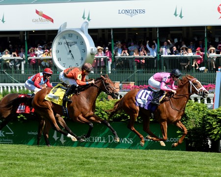 Catch a Glimpse with Florent Geroux wins the Edgewood (gr. IT) Kentucky Oaks day at Churchill Downs on May 6, 2016, in Louisville, Ky.