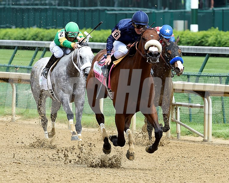 Flavien Prat guides Taris to the wire and the win in the 30th running of The Humana Distaff at Churchill Downs May 7, 2016 in Louisville, KY.