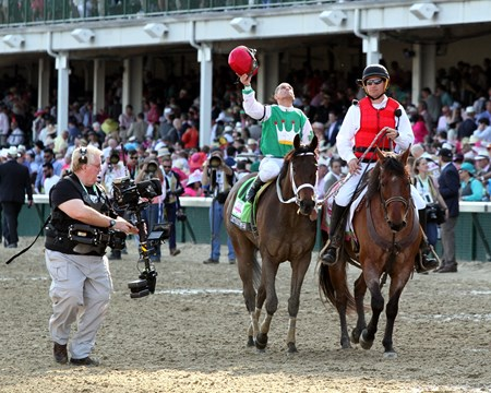 Javier Castellano aboard Cathryn Sophia after winning the 142nd Running of the Kentucky Oaks at Churchill Downs on May 6, 2016.