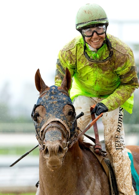 Jockey Joseph Talamo guides Home Run Kitten to the winner's circle after their victory in the Grade III, $100,000 American Stakes, Friday, May 6, 2016 at Santa Anita Park, Arcadia CA.