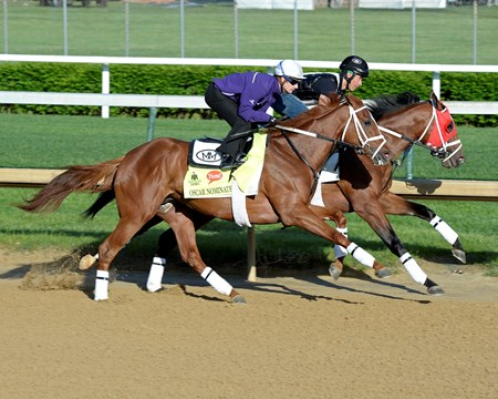 Oscar Nominated with Julien Leparoux on track at Churchill Downs in Louisille, Ky., on April 29, 2016.