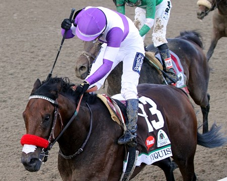 Nyquist with Mario Gutierrez wins the 142nd Running of the Kentucky Derby at Churchill Downs on May 7, 2016.