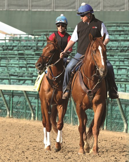 Gun Runner works at Churchill Downs May 2, 2016
