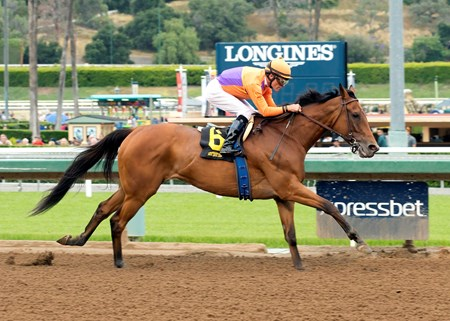 Spendthrift Farm's Beholder and jockey Gary Stevens win the Grade III, $100,000 Adoration Stakes, Sunday, May 8, 2016 at Santa Anita Park, Arcadia CA.