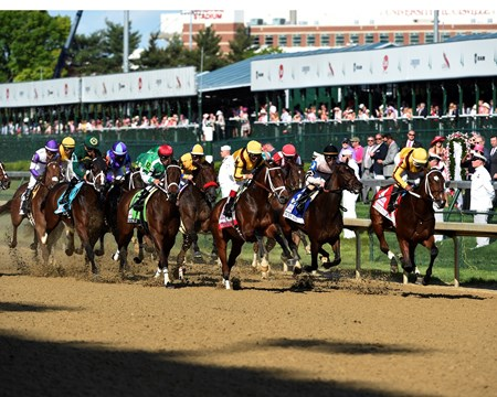 The field passes the grandstand for the first time with Terra Promessa(#1) in the lead May 6, 2016 in the 142nd running of the Kentucky Oaks at Churchill Downs in Louisville, K.Y.