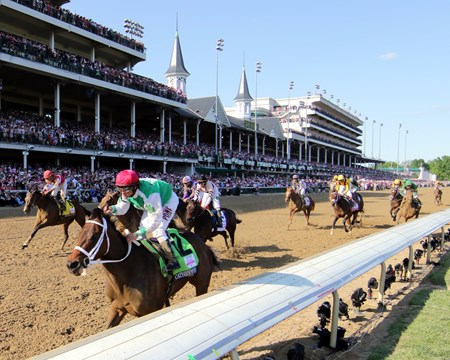 Cathryn Sophia with Javier Castellano win the 142nd Running of the Kentucky Oaks at Churchill Downs on May 6, 2016.