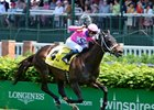 Rocket Heat with Flavien Prat wins the Twin Spires Turf Sprint. 
