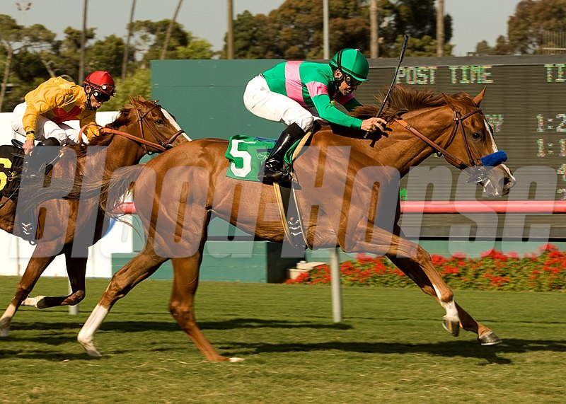 Cozi Rosie and jockey Mike Smith, right, outleg City To City (Joel Rosario), left, to win the Grade III, $100,000 Senorita Stakes, Sunday, May 2, 2010 at Hollywood Park, Inglewood CA.