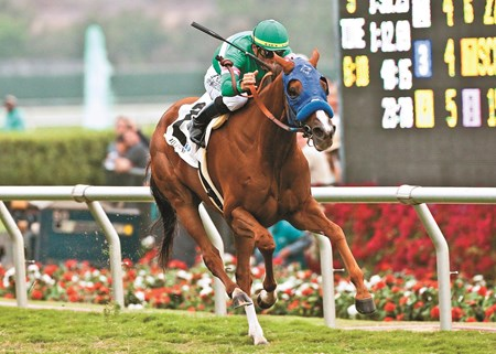 Cozi Rosie and jockey Garrett Gomez win the Grade II, $250,000 John C. Mabee Stakes, Sunday, August 14, 2011 at Del Mar Thoroughbred Club, Del Mar CA.