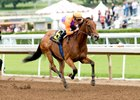 Champion Beholder wins the Adoration Stakes with jockey Gary Stevens.