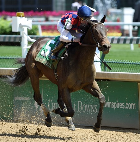 Carina Mia with jockey Julien Leparoux in the irons wins the 61st running of The Eight Belles May 6, 2016 at Churchill Downs in Louisville, KY.